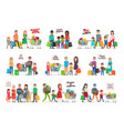 collection of icons with happy family shopping vector image vector image