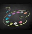 color chalk drawn paint palette vector image vector image