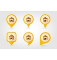 Cowshed flat mapping pin icon with long shadow vector image vector image