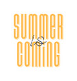 cute orange cartoon lettering summer is coming vector image vector image