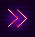 double line arrow neon sign vector image