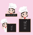 female chef holds a signage vector image vector image
