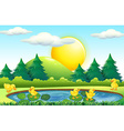 Five little ducks in the pond vector image vector image