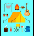 flat camping elements collection vector image vector image