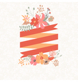 Floral bouquet with stripe for text vector image