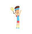 funny guy standing with hands up and holding vector image vector image