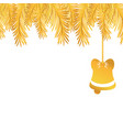 gold garland with bell hanging decoration to vector image vector image