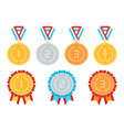 gold silver bronze medals in flat style vector image