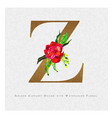 golden letter z watercolor floral background vector image