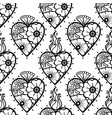graphic hearts with floral decorations vector image vector image