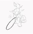 handwritten line drawing floral logo monogram o vector image vector image
