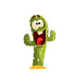 Happy cactus character laughing succulent plant