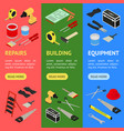 home repair banner vecrtical set isometric view vector image vector image