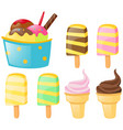 ice cream and popsicles set vector image