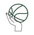 isolated ball and hand design vector image vector image