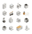 kitchen equipment isometric icons set vector image