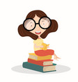 lady reading book sitting on book stack vector image