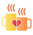love mugs flat icon cups with heart color icons vector image vector image