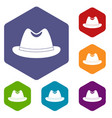 man hat icons set hexagon vector image vector image
