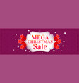 mega christmas sale banner with stars vector image