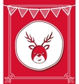merry christmas frame with reindeer isolated icon vector image