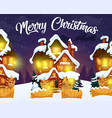 merry christmas greeting card with night village vector image