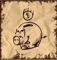 Money pig icon isolated on vintage background vector image vector image