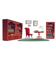 old vip library interior with bookcases vector image