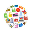 online shopping and sale items gifts shopping vector image vector image