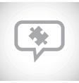 Puzzle grey message icon vector image