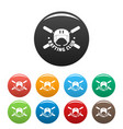 rafting club helmet icons set color vector image