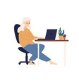 relaxed barefoot woman use laptop sitting on vector image