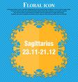 Sagittarius icon Floral flat design on a blue vector image