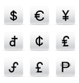set of beautiful silver currency icons vector image