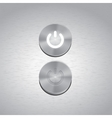 Set of Metal power buttons with white light vector image