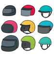 set of motorcycle helmet vector image vector image