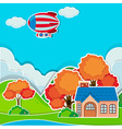 Single house by the mountain vector image