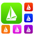 small yacht set collection vector image vector image