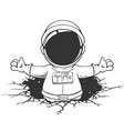 spaceman knocked a wall out from space vector image vector image