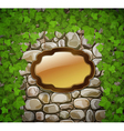Stone wall with shield and leaves
