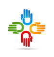 teamwork group of hands colorful vector image vector image