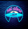 vintage space ufo emblem glowing neon sign vector image vector image