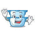 waving double boiler character for the steaming vector image