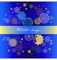 Winter design with gold and blue snowflakes on vector image vector image