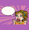 woman in panic emotion and stress vector image