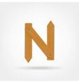 Wooden Boards Letter N vector image vector image