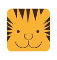 yellow square tiger animal face expression vector image vector image