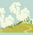 spring landscape with village on the hill vector image