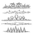 Nature line landscape set vector image