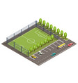 3d isometric football field car parking vector image vector image